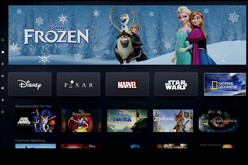 interface streaming disney plus